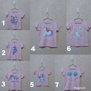 Unicorn Tees For Little Girls 4-7 years old Freesize