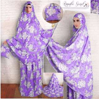 Mukena Romantic Secret Ungu Bahan katun rayon import