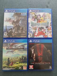 PS4 video games Monster hunter world, Digimon Next Order, Ni no kuni 2, Metal Geatlr Solid TPP