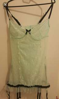 Tiffany Blue Gartered Sexy Chemise