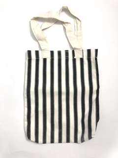 Vertical stripe black and white canvas tote bag