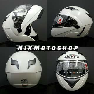 KYT Convair White Pearl Flip-Up Helmet