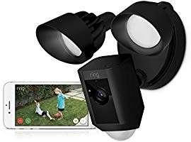 (159) Ring Floodlight Camera Motion-Activated HD Security Cam Two-Way Talk and Siren Alarm, Black, Works with Alexa
