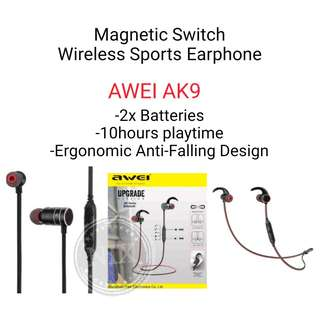 Awei AK9 IPX4 Waterproof Bluetooth Wireless In-ear Sport Magnetic Earphone