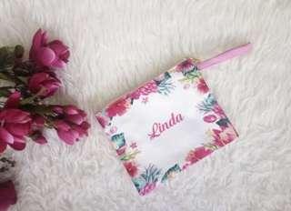 CUSTOM SATIN POUCH pink flower