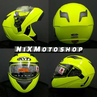 KYT Convair Yellow Fluo Flip-Up Helmet