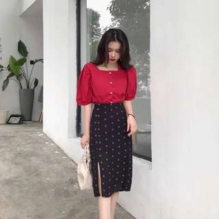 Vintage Red Blouse + Half Dress