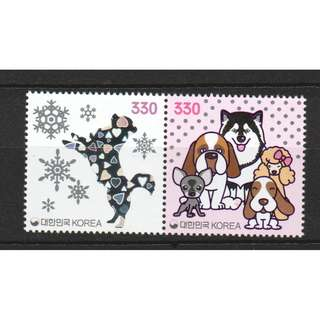 SOUTH KOREA 2017 ZODIAC LUNAR NEW YEAR OF DOG 2018 SE-TENANT COMP. SET OF 2 STAMPS IN MINT MNH UNUSED CONDITION