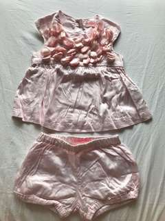 Gingersnaps pink flower set top and short