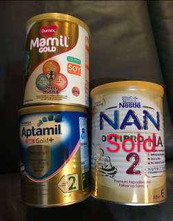 BN Nan Optipro HA/ Dumex mamil gold/ Aptamil HA