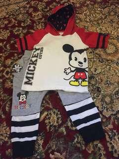 Disney Baby Mickey Hoodie Tshirt & Pants