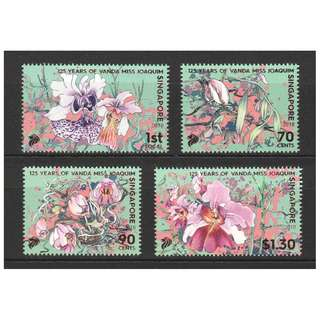 SINGAPORE 2018 125 YEARS OF ORCHID VANDA MISS JOAQUIM COMP. SET OF 4 STAMPS IN MINT MNH UNUSED CONDITION