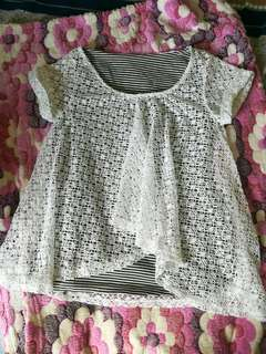 Preloved White & Stripe Top