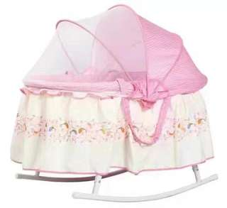 Pink Baby Rocker with Mosquito Net Lightweight Rocking Crib