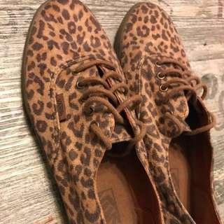 Vans 啡色 豹紋 平底鞋