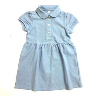 🚚 無印良品Muji 幼兒兒童女童有機棉公主袖連身裙洋裝運動休閒裙水藍色90cm