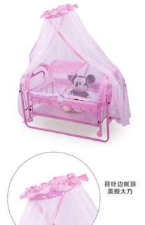 Pink Floral Baby Crib with Rocker and Mosquito Net