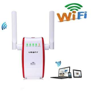 942.URANT Wireless Router, 300Mbps Wifi Router Network Extender Dual Band Long Range Amplifier AP/Router/Repeater Modes Signal Booster Complies with IEEE802.11n/b/g Dual Antenna Under 2.4GHz -Red
