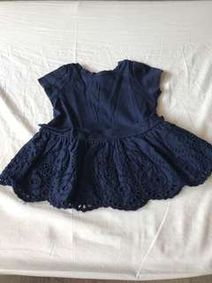Baby Gap navy blue dress with lace bottom