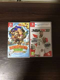 Nintendo switch (Donkey Kong / NBA 2K18)