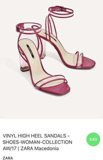 Zara vinyl high heel sandals Fuchsia 39""