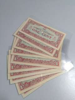 The Japanese Government Banknote one cent 10pcs