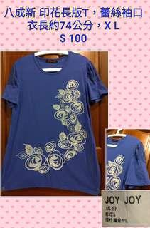 八成新 印花長版T,蕾絲袖口 衣長約74公分,X L $ 100