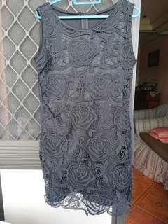 balck semi formal dress. above the knee length.