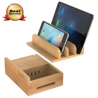 945. MAXGADGET Bamboo Charging Station Desktop Organizer Upgrade 24W 5A 4 Ports USB Charging Station Dock for iPhone, iPad, Tablets,Kindle-Multiple USB Charger Station & Cell Phone Docking Station