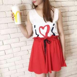 🚚 韓國♥無袖心型圖印套裝