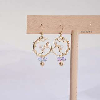 925 Silver Earrings Birds and The Flower