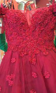 Beautiful Red boat neck ball/party gown