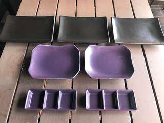 Japanese style sushi/spring rolls plates and sauce trays