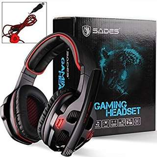 (48) SADES SA903 7.1 Surround Sound USB PC Stereo Gaming Headset with Microphone Volume-Control LED light