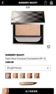 Burberry Fresh glow compact foundation SPF10 color:10