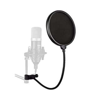 672.  6 inch Studio Microphone Mic Round Shape Wind Pop Filter Mask Shield with Stand Clip (Black Filter)