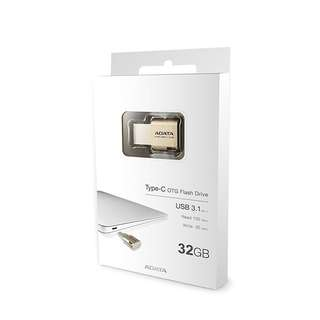 Adata UC350 32GB USB 3.1 Type-C OTG Flash drive,Gold (AUC350-32G-CGD)
