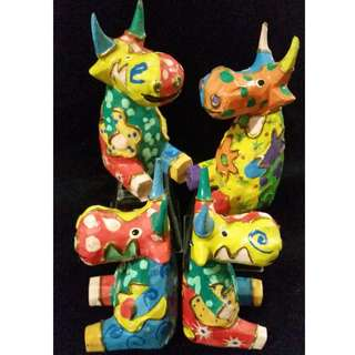 Wooden Colourful Cows