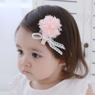 🚚 🌟INSTOCK🌟 Pink Floral Puff with White Lace Detail Hair Clip Baby Headband Bandana Kids Girl Party Hair Accessories