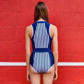Zoom   Simple Stripes Collared Swimsuit SIZE S/M/L/XL
