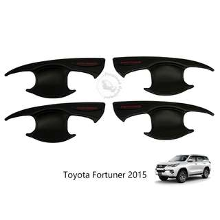 TOYOTA FORTUNER 2015 INNER DOOR HANDLE BOWL 4 DOORS MATT BLACK WITH RED WORDING (FORTUNER)