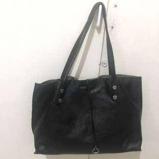 AUTHENTIC CALVIN KLEIN Black Leather Tote Bag