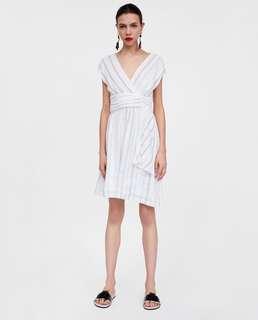 OshareGirl 06 歐美女士條紋印花褶皺裝飾條紋連身裙洋裝
