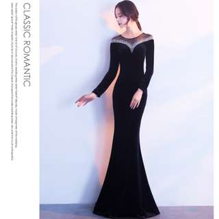 Gown Collection - Noble & Elegant Velvet Long Sleeves Mermaid Gown