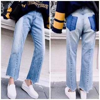 OshareGirl 06 特價商品日單水洗磨白色調牛仔長褲
