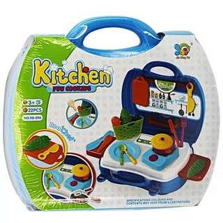 Mainan masak masakan kitchen fun cooking koper biru