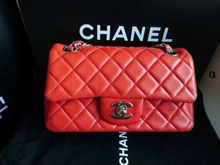 Chanel mini Coco classic flap 20 cm in orangery red