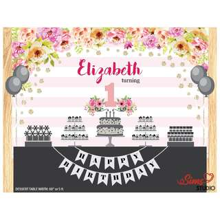 🚚 Personalized Pink Boho Flower Theme Birthday Printable Backdrop, Flower Backdrop Poster, Floral Birthday Poster, Boho Flower Theme