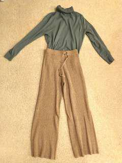KNITTED WIDE LEG PANTS XS /S