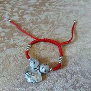 925純銀手鏈 silver bracelet 嬰兒平安紅手繩款 滿月 women accessories